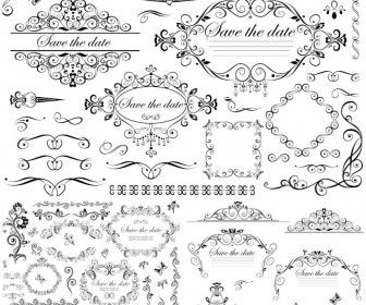 Wedding decorative frames and borders vector graphic design set of vector wedding vintage embellishment elements with ornate frames decorative borders dividers floral corners for your classic style wedding junglespirit Choice Image