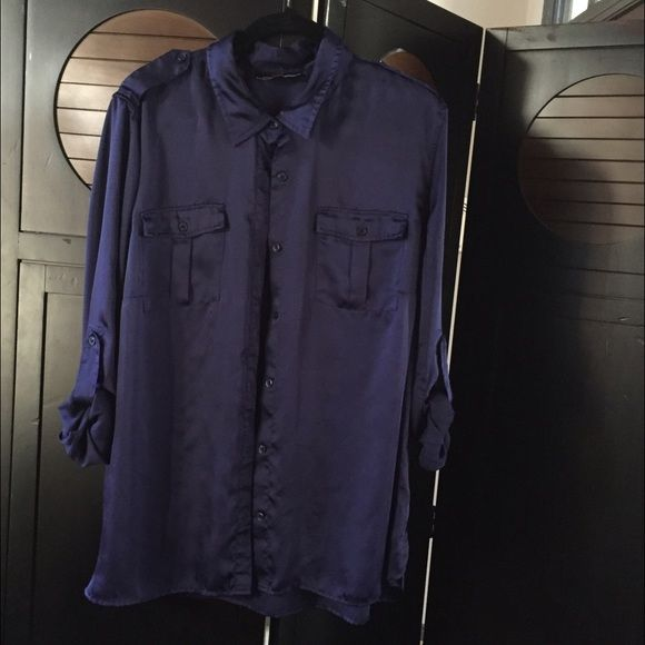Navy Blue silky camp shirt Jones NY, navy blue silky camp shirt. You can wear the sleeves buttoned up or down. The shirt is 100% poly so it's super easy to wash and toss in the dryer. Jones New York Tops Blouses