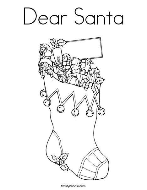 Dear Santa Coloring Page D Nealian Twisty Noodle Santa
