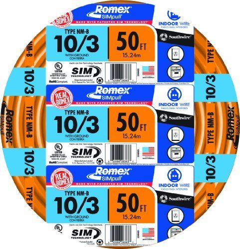 Southwire 63948422 10 3wg Nmb Wire 50 Foot By Southwire 61 65 From The Manufacturer For General Wiring Of Homes Farm Buildin Residential Wiring Electrical Wiring Wire