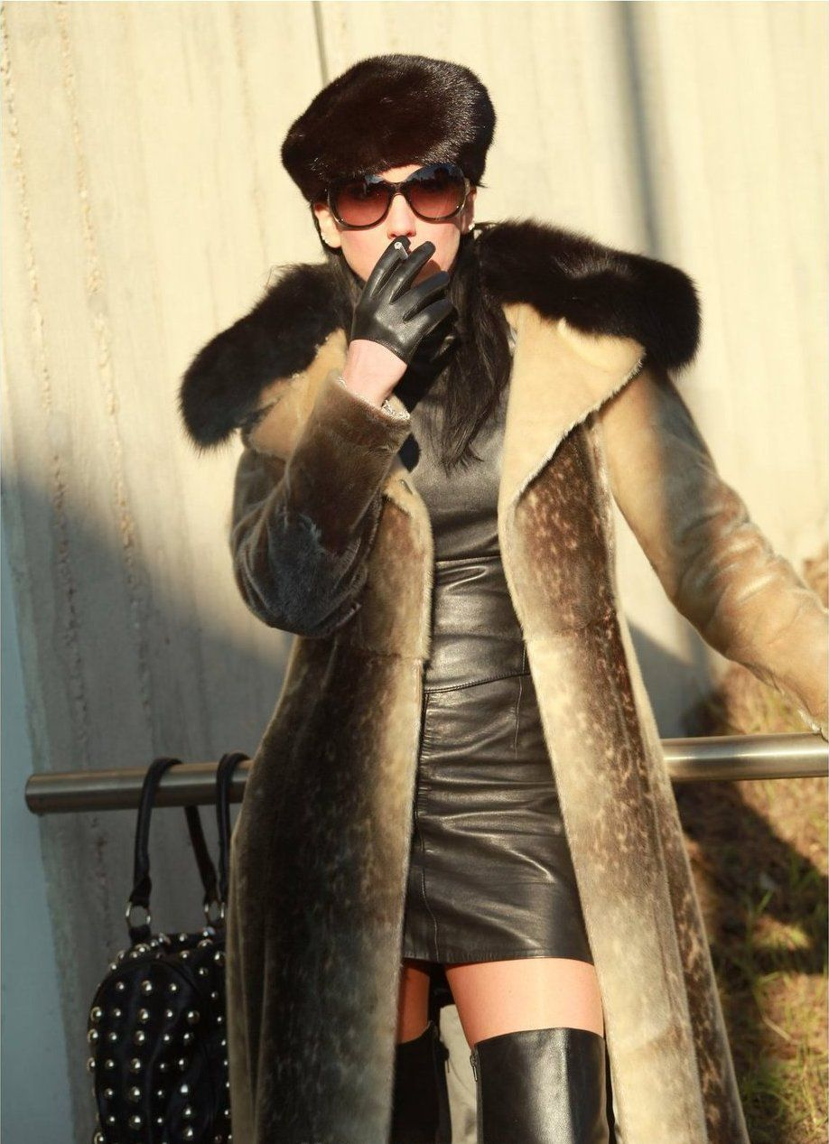 Sealskin coat and leather dress and gloves, stunning !!!