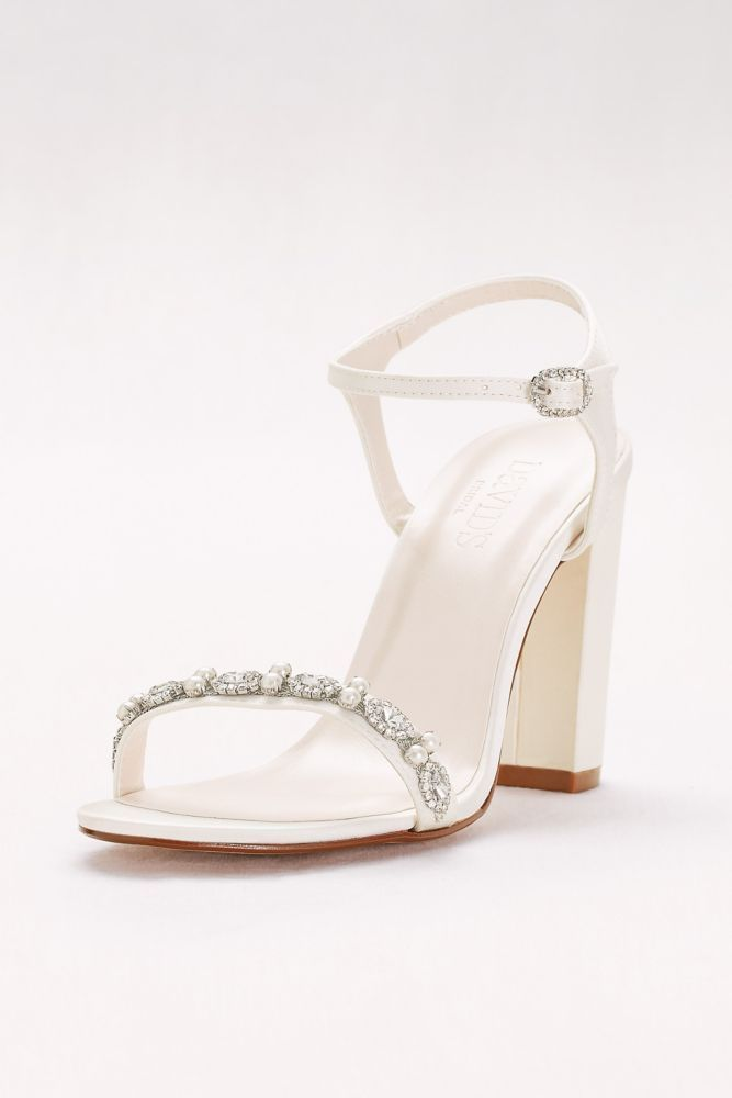 eef7819ed9a Embellished Satin Block Heel Sandals - Ivory