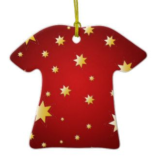 Christmas sparkling stars on red ornaments