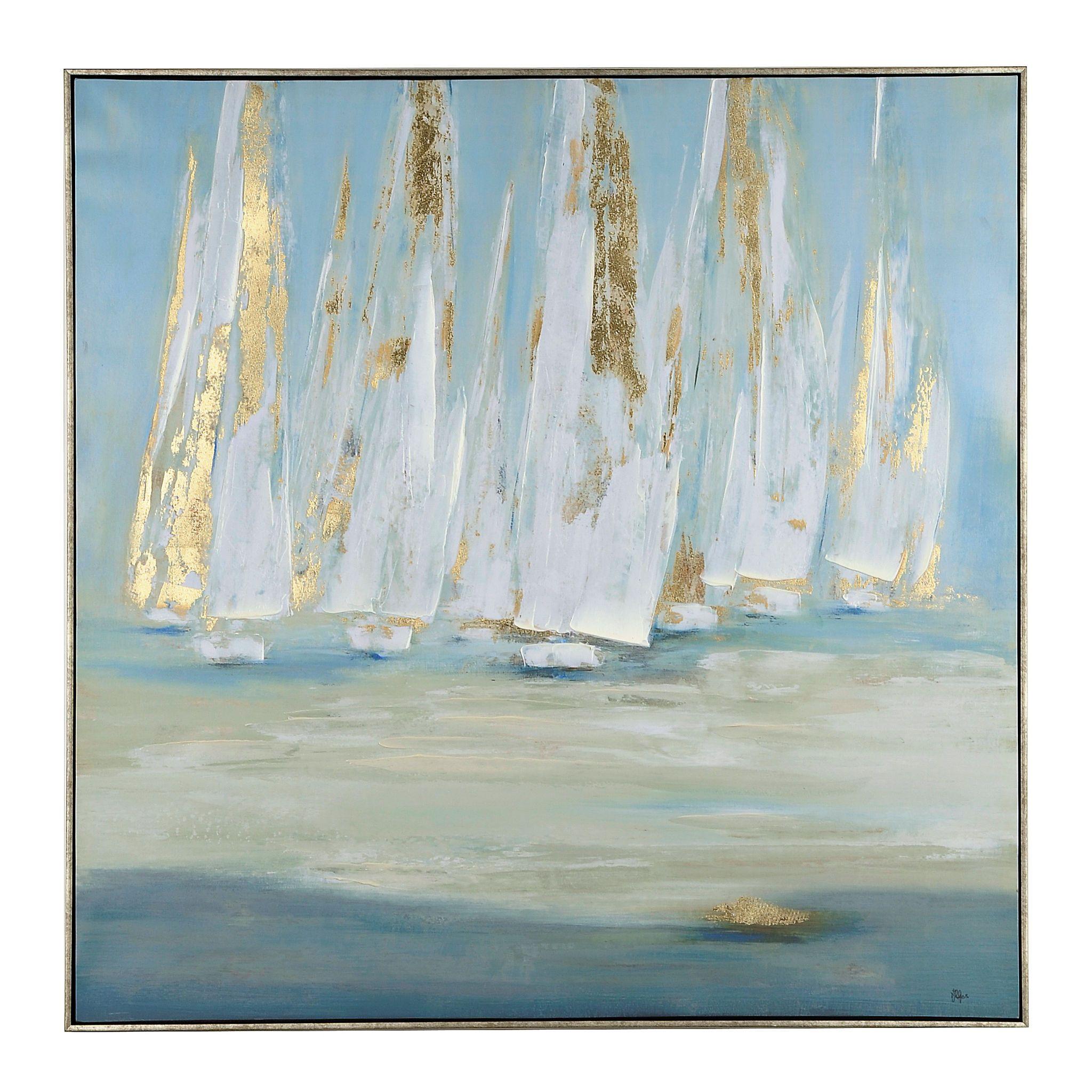 Glimmering Sails Framed Canvas Art Print