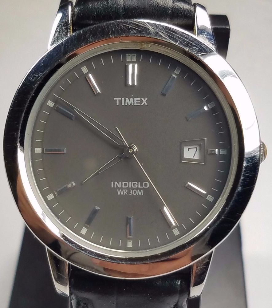 timex t21752 mens indiglo watch gray dial w date window