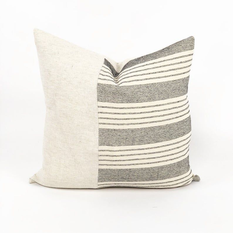 The left side of this pillow is made from cotton Thai fabric. It has incredibly beautiful texture that can enhance any space. The left side is made from natural linen.#decor #homedecor #pillows #pillowdesign