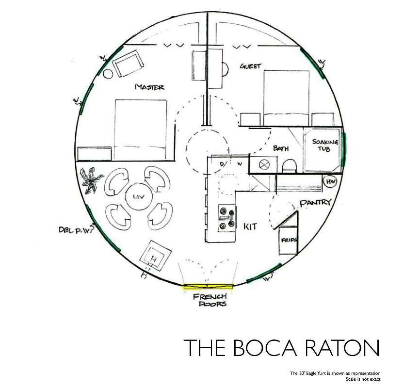 Yurt floor plans the boca raton like the hidden pantry for Yurt home plans