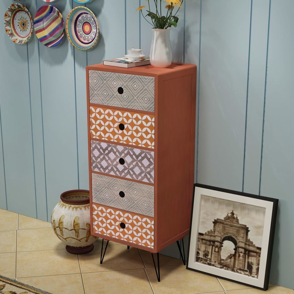 H4home Industrial Side With 5 Drawers And Pin Legs