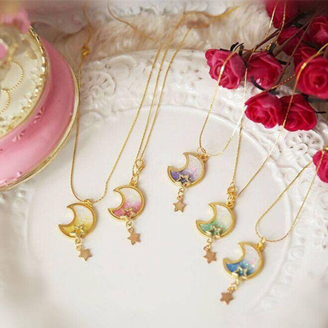 Lolita moon galaxy gradient necklace kawaii clothing online store - clothing sponsorship