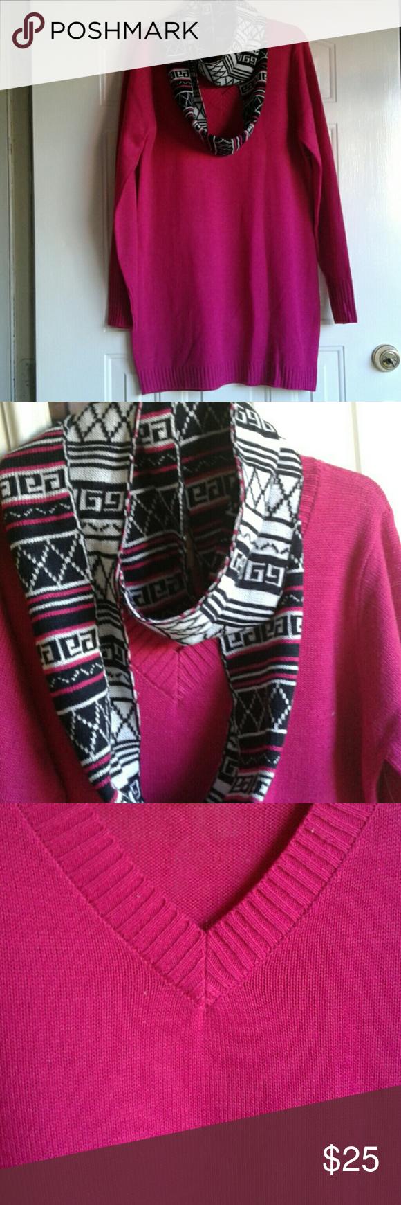 NWT Lovely Fuchsia Sweater 💖  Fushia Tunic sweater with scarf Tops