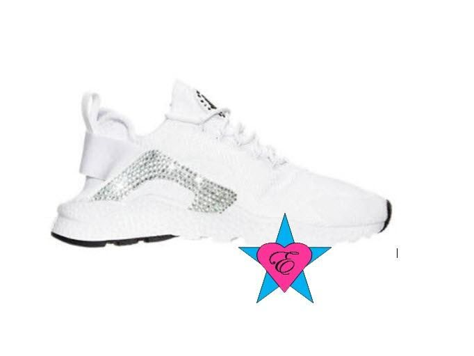 Crystal Glitter White Nike Air Huarache Run Ultra    Only 2 swooshes (means de8fcffaa5