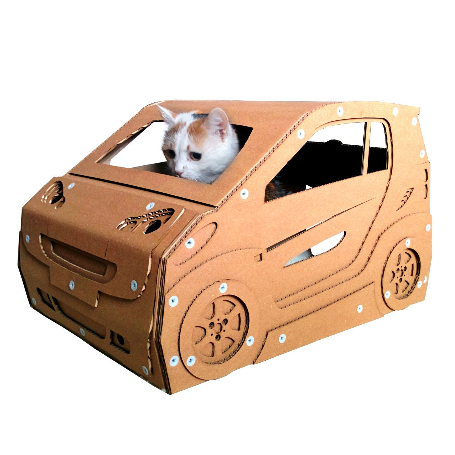 Smart Cardboard Cat House,Cat Furniture, Cat Toy, Cat Bed, Cat Cave, Pet House, Cardboard Furniture,Cat Condo by CacaoFurniture on Etsy https://www.etsy.com/listing/255204216/smart-cardboard-cat-housecat-furniture