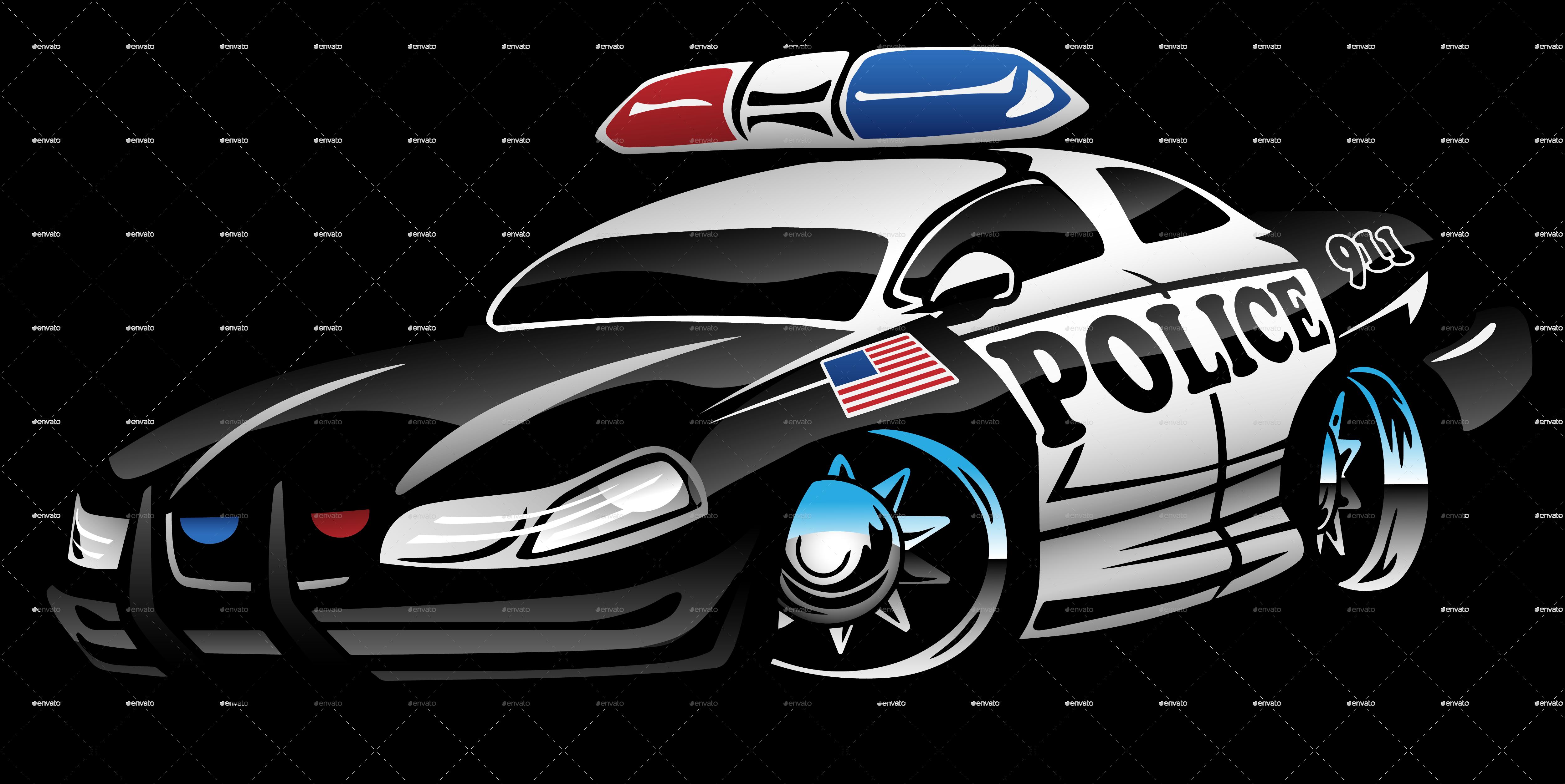Police Muscle Car Cartoon Car Cartoon Police Cars Car Drawings