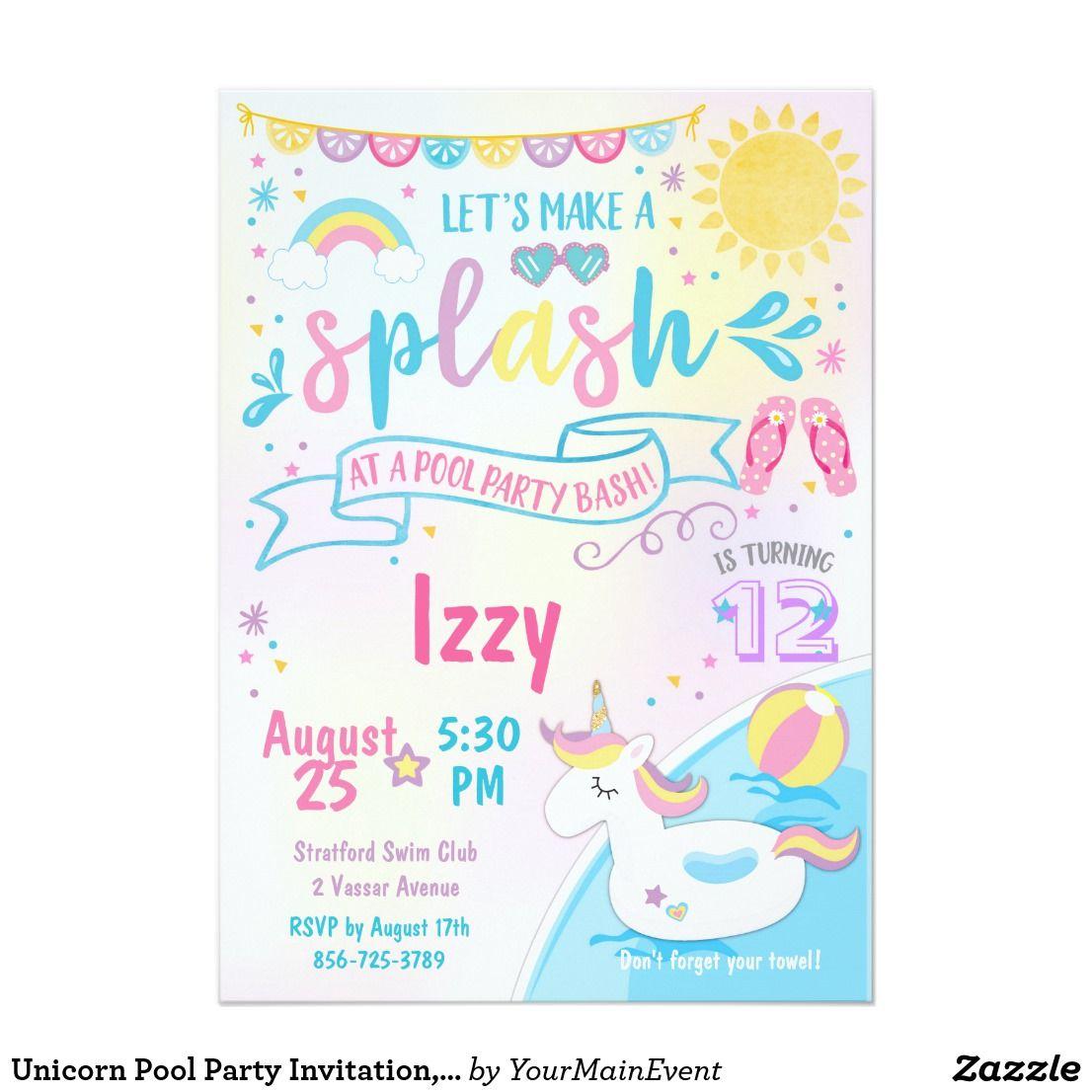 Unicorn Pool Party Invitation, Pool Bash Birthday Invitation | Swim ...