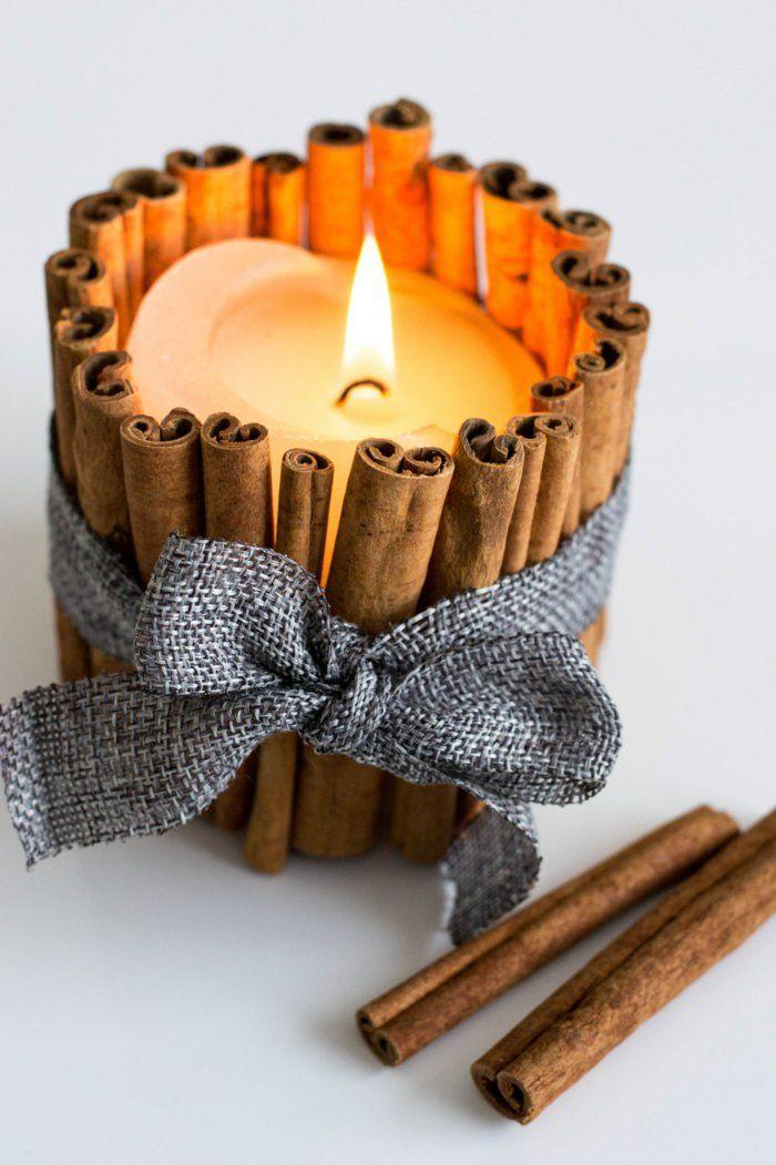 Duftkerzen mit Zimtstäbchen selber basteln | Kerzen selber ...