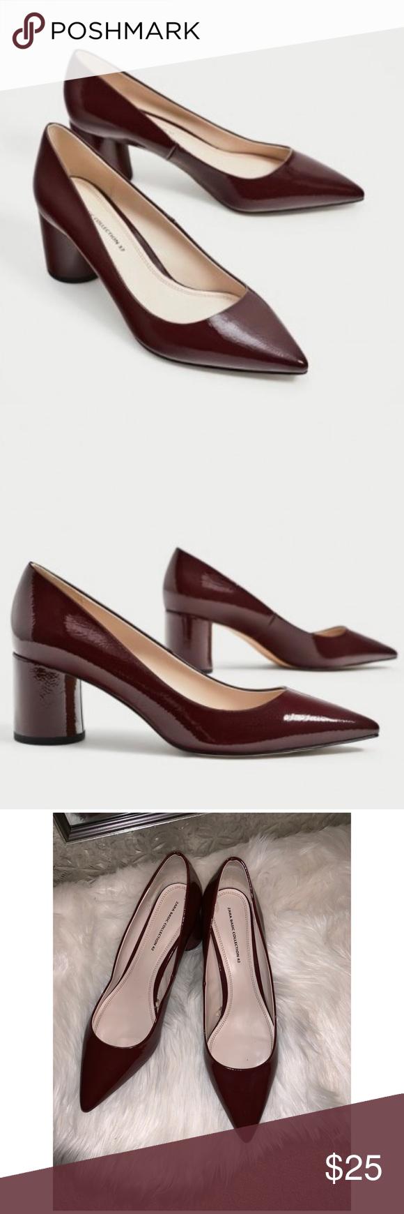 Zara Shoes | Pointed Toe Black Patent Block Heel Pumps
