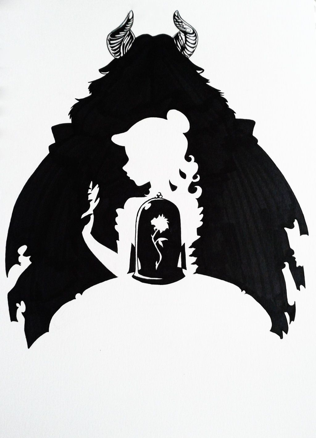 Beauty And The Beast Silhouette Art By Hoshino Libra