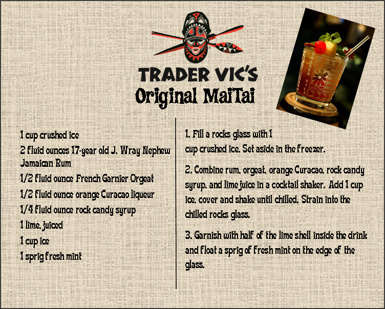 Perfect for an evening pretending to be in the islands...the ORIGINAL Mai Tai Recipe