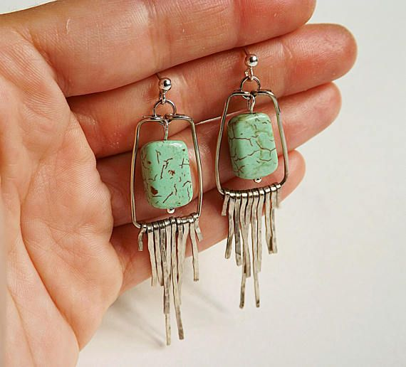 Howlite alpaca earrings hammered sterling silver earrings