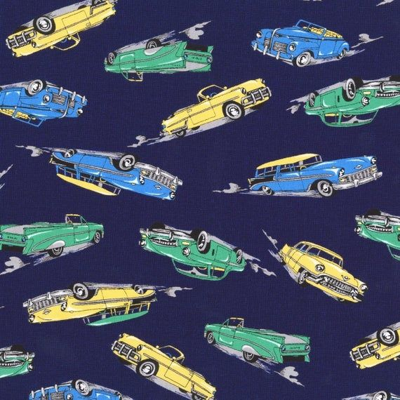 Classic Cars/blue~let's Go 2 Cotton Fabric by Robert Kaufman