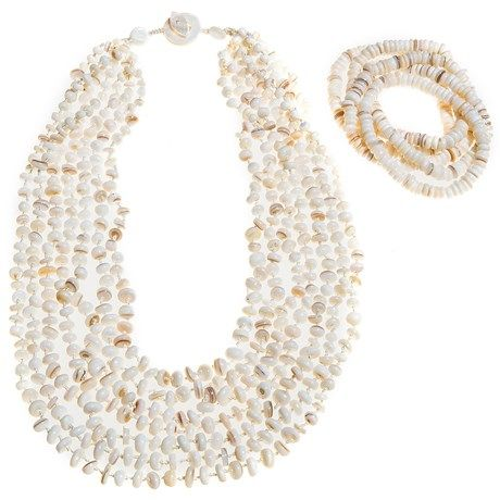 Aluma USA White Mother-of-Pearl Necklace and Bracelet Set