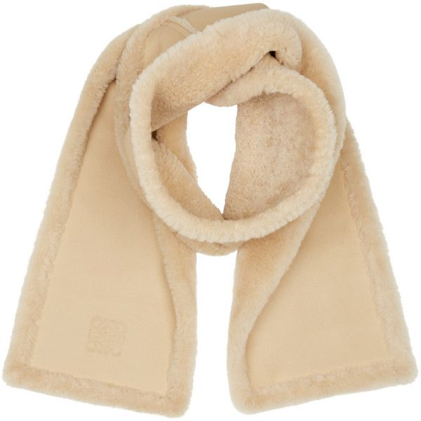 Loewe Beige Shearling Scarf (2 370 AUD) ❤ liked on Polyvore featuring accessories, scarves and loewe