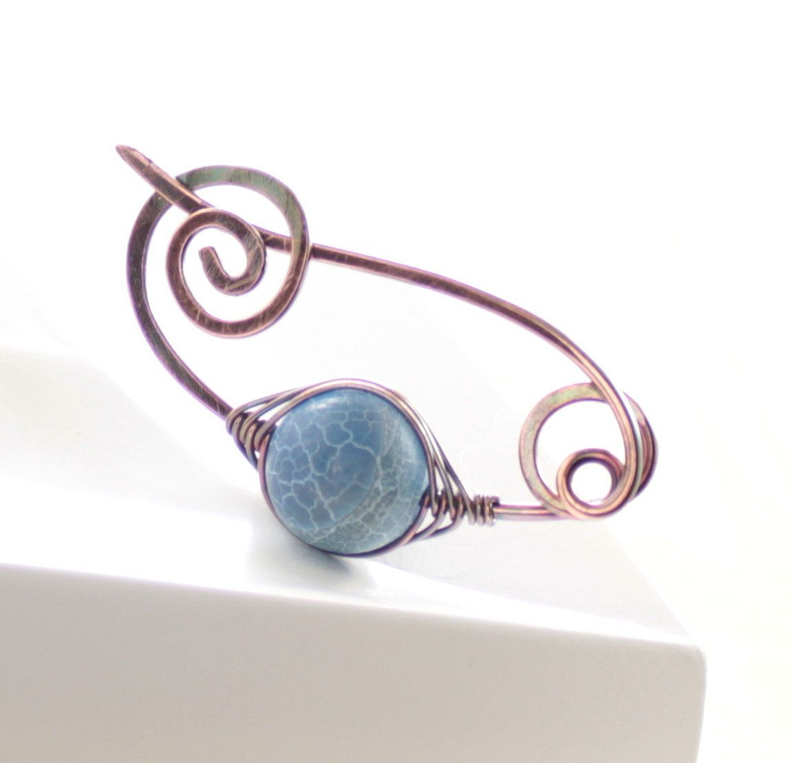 Shawl pin or scarf pin with frosted scale denim blue agate stone and ...