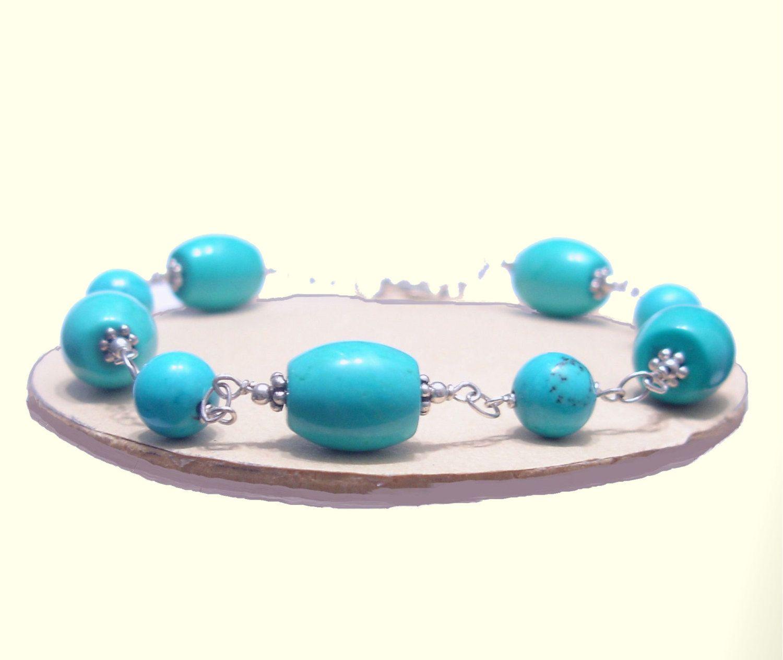 Turquoise Bracelet, Blue Barrel, 925 Silver Bracelet, Handmade, Natural Stones Bracelet, Healing, Scorpio, Sagittarius, Aquarius, Pisces de ArtGemStones en Etsy
