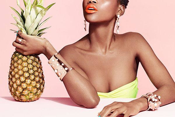 Sarah Magid Jewelry  Colorful Accessories, Rings is part of Fashion face, Fashion photography, Jewelry photoshoot, Jewelry lookbook, Sarah magid, Fashion photoshoot - Sarah Magid has released a new collection of colorful jewelry for spring 2014, with a fruity lookbook to match