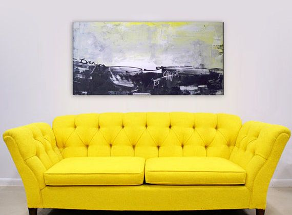 Deep Gallery Style 48x24x1.5 Abstract Art. Gallery Wrapped Abstract ...