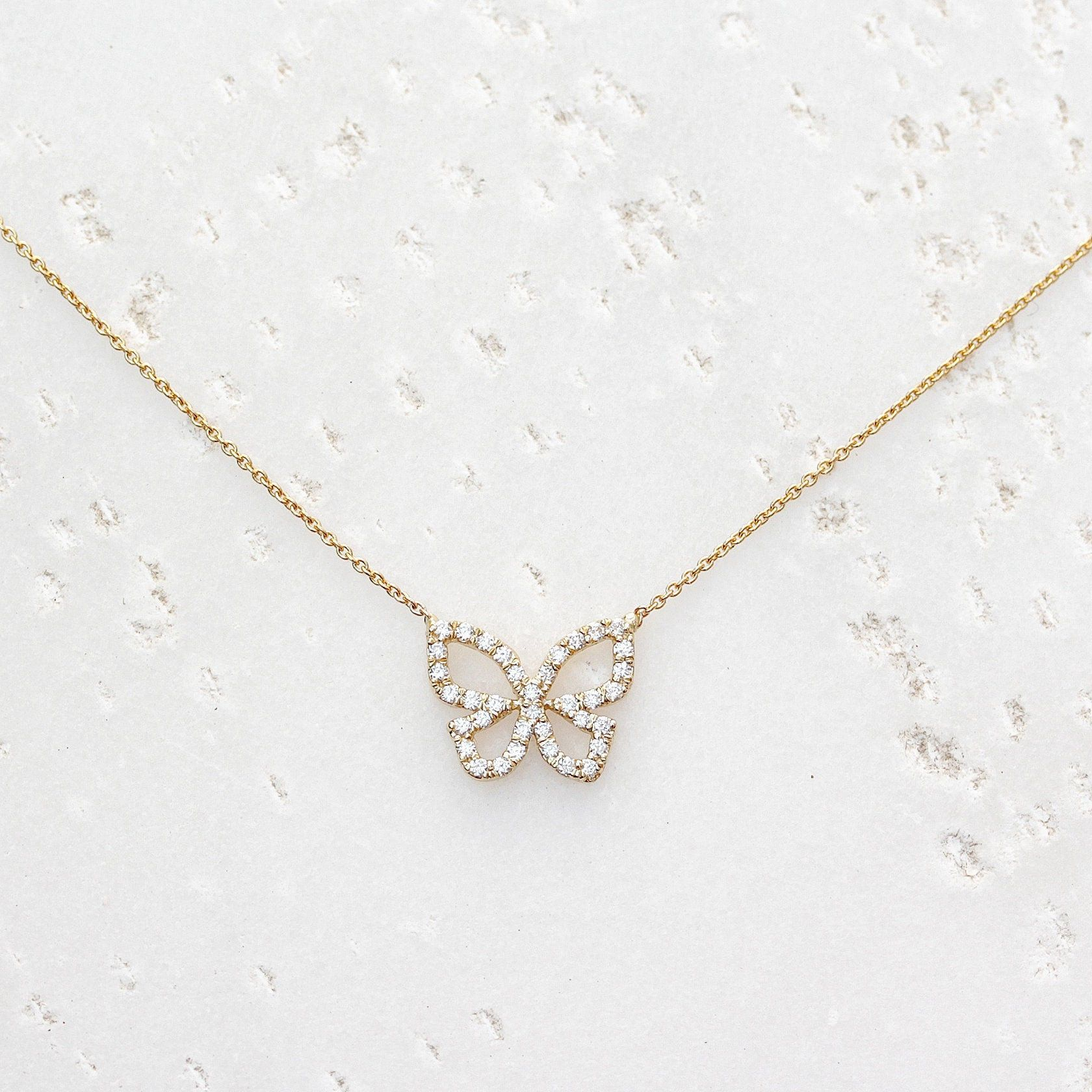 Diamond Butterfly Choker Charms Pink Gift Idea for butterfly and jewellery lovers thoughtful gift Butterfly Jewellery Butterfly Necklace