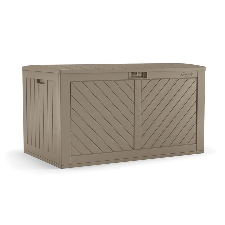 Suncast 26 75 In L X 49 25 In 134 Gallon Brown Deck Box Lowes Com