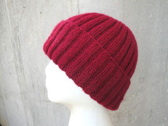 Red Hat Knit Wool Blend Men Teens Women Watch Cap by Girlpower f4a595ae21