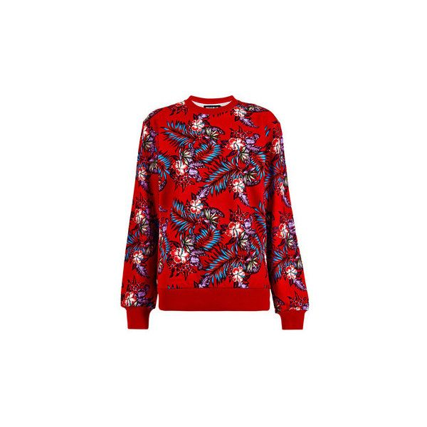 House Of Holland Paradise Flower Sweatshirt (€46) ❤ liked on Polyvore featuring tops, hoodies, sweatshirts, red, red long sleeve top, crew-neck sweatshirts, long sleeve cotton tops, patterned sweatshirts and flower sweatshirt