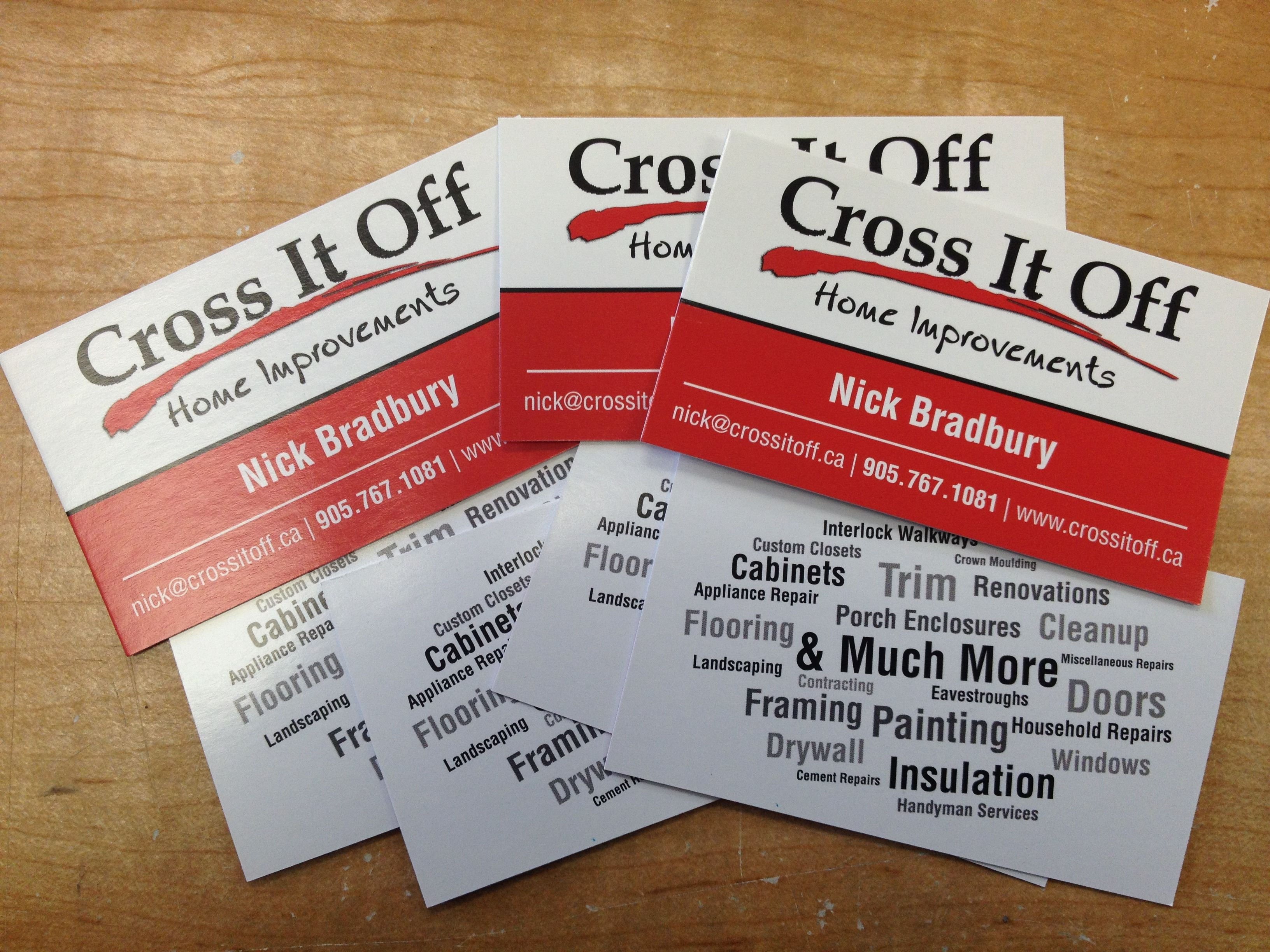 Double sided full colour business cards with an awesome word
