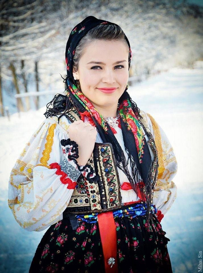 19f2c2605 Romanian girl in Romanian traditional costume from Venetia de Jos, Fagaras  County, Transylvania.photograph by Mihai Sin