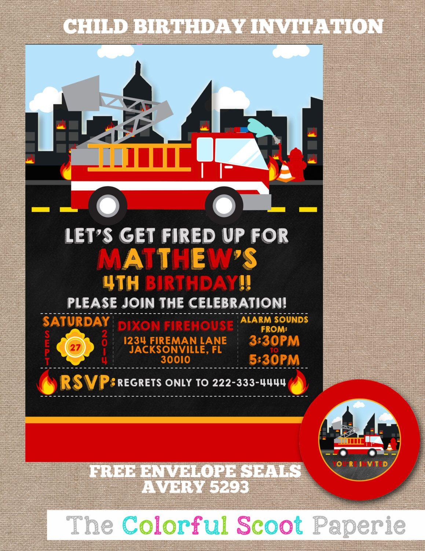 Firefighter Birthday Invitation Firefighter Birthday Party