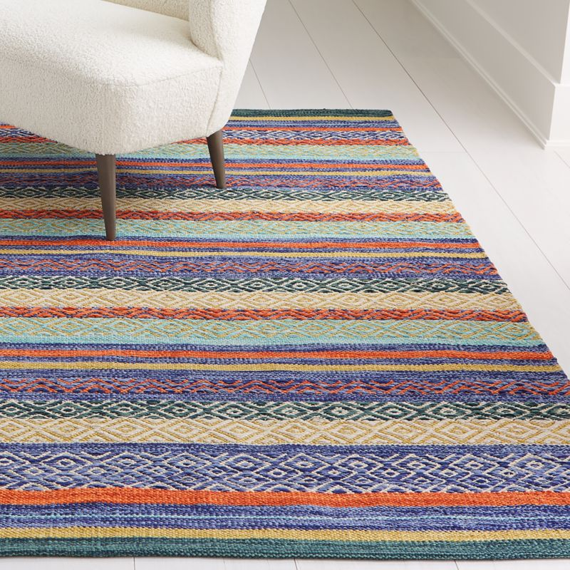 Yumi Blue Multi Color Rag Rug Crate And Barrel Rag Rug Handcrafted Rugs Crate And Barrel