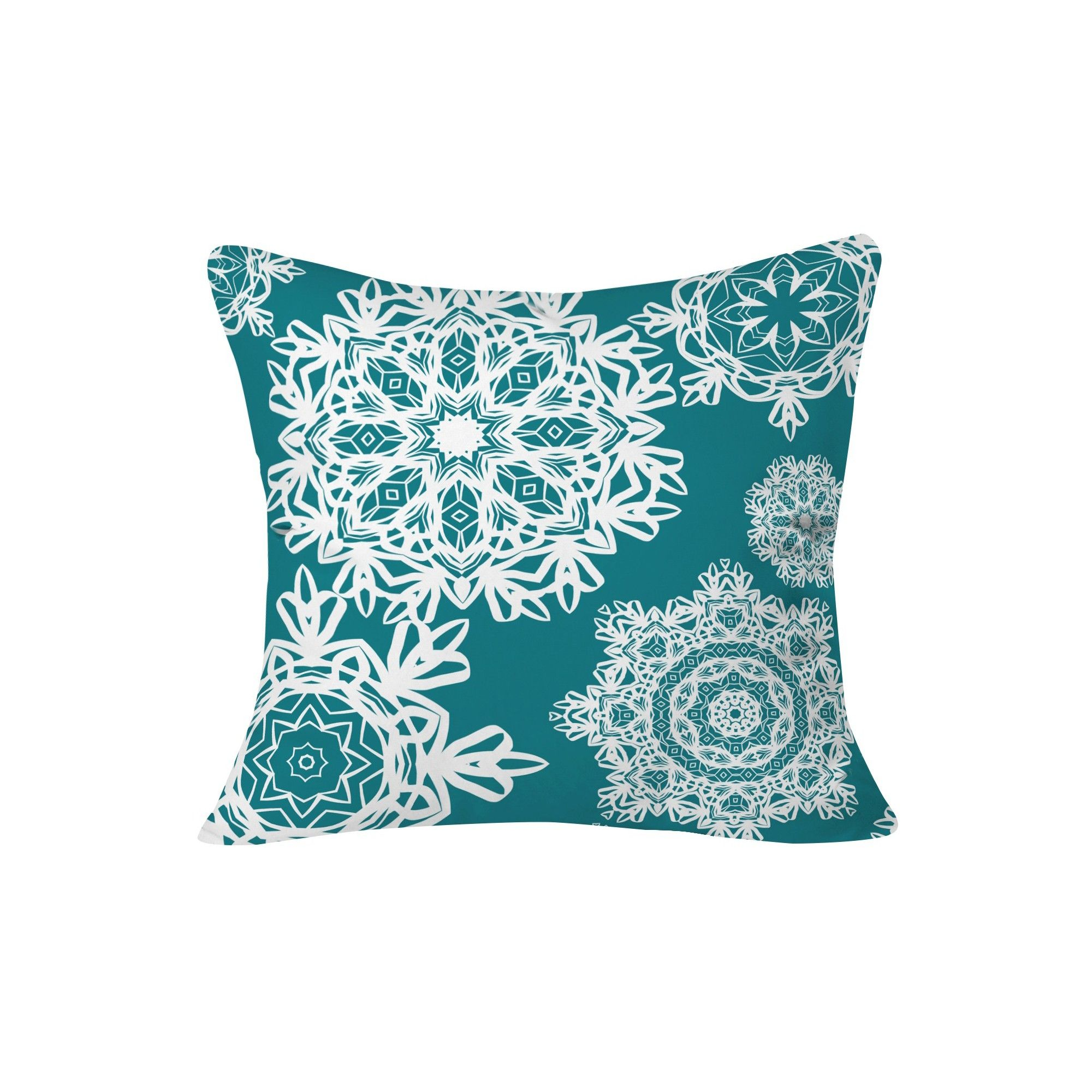 Deep Turquoise Flurries Throw Pillow (20X20)  Deny Designs