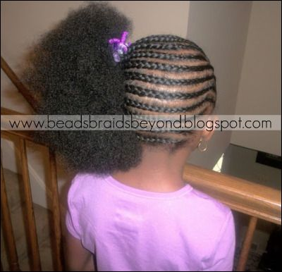 Braids To The Side With A Puff Girls Hairstyles Braids Kids