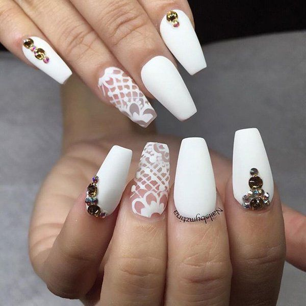 This classy white nail art with naked chevron design accentuated with  diamonds and a glittery nail is what you need for an overall elegant look. - 50 White Nail Art Ideas White Nails, White Nail Art And Matte