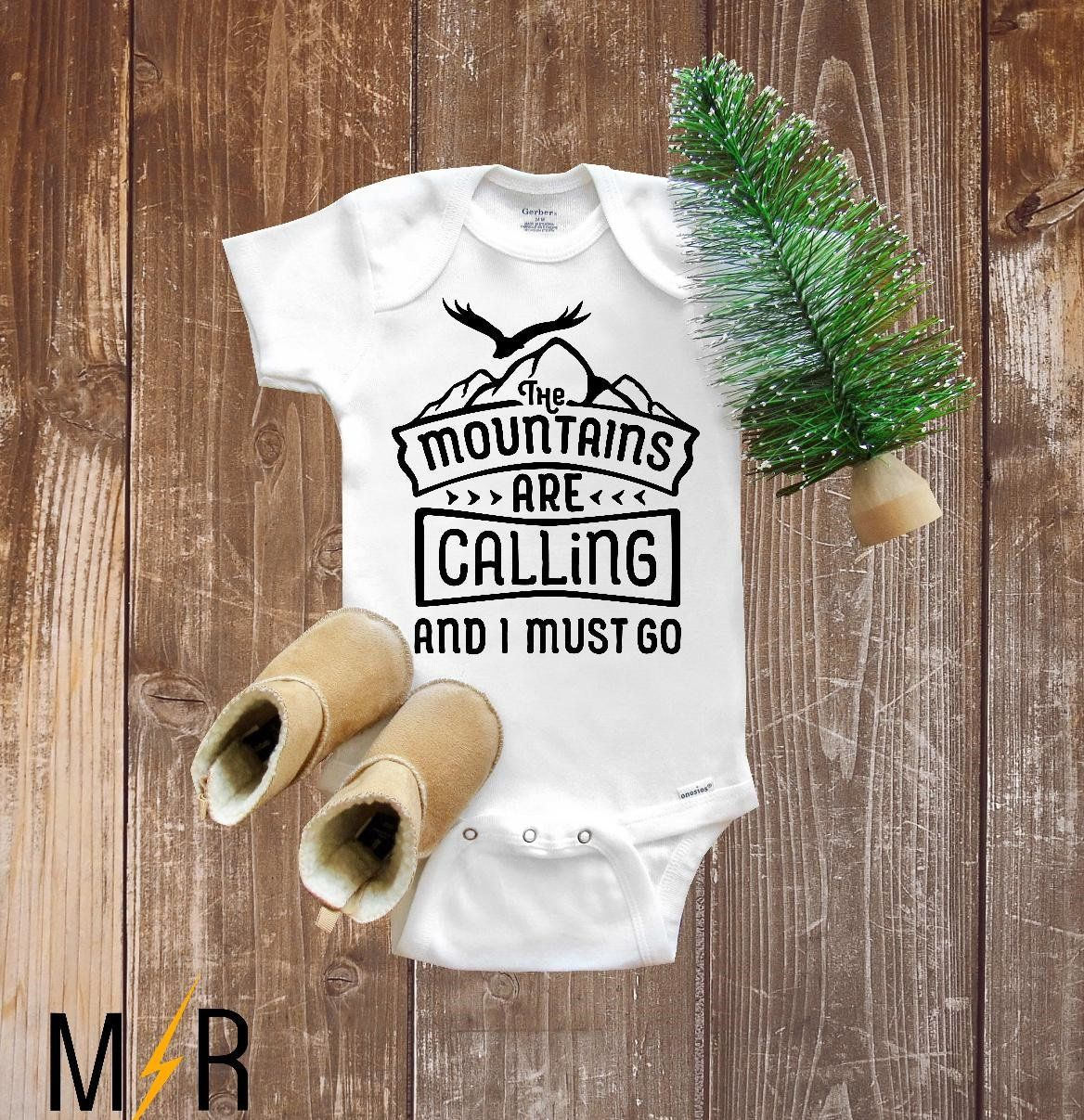 Baby Shower Present The Mountains are Calling and I Must Go Let the Adventure Begin Baby Bib