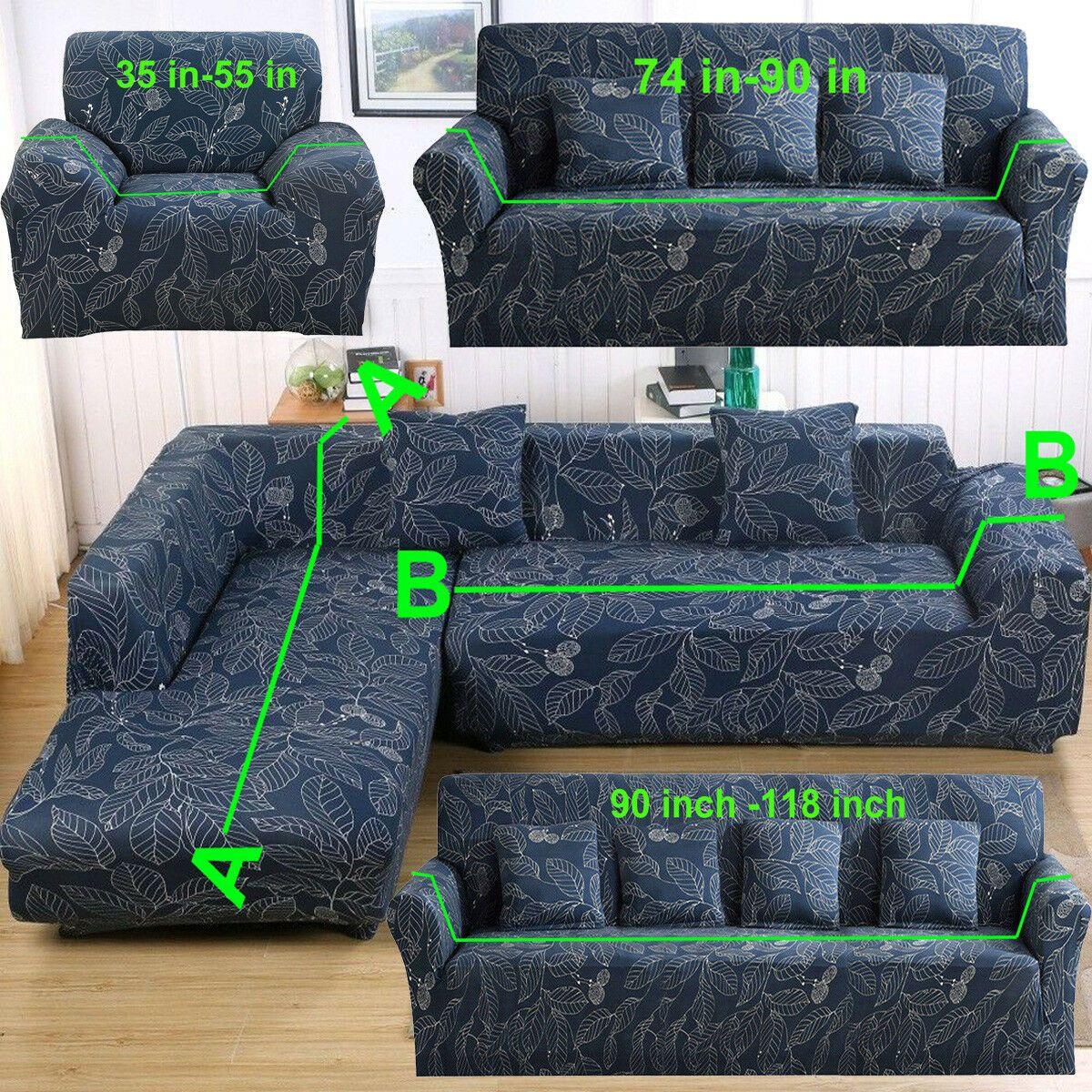 1 4 Seater Printing Sectional Corner L Shape Stretch Sofa