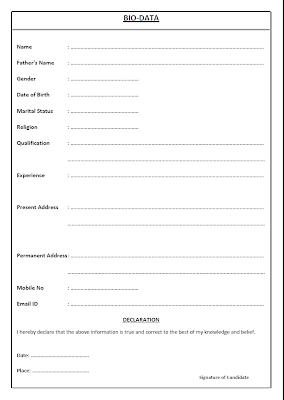 Biodata Formats Free Job Cv Example Biodata Format Bio Data Bio Data For Marriage