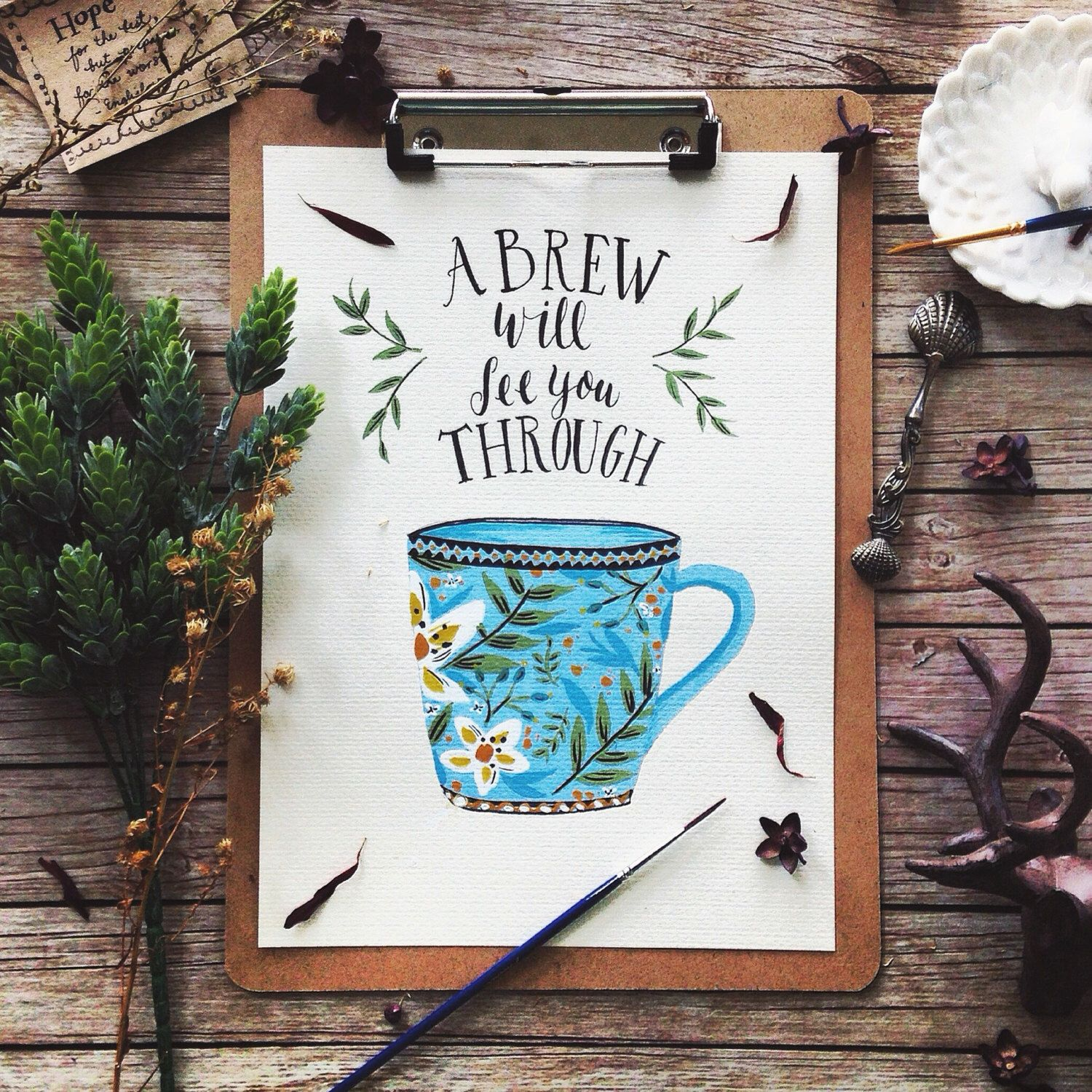 A Brew Will See You Through - Rustic Kitchen Art Print, Watercolor ...