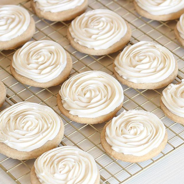 pumpkin shortbread cookies with Apple cider cream cheese frosting