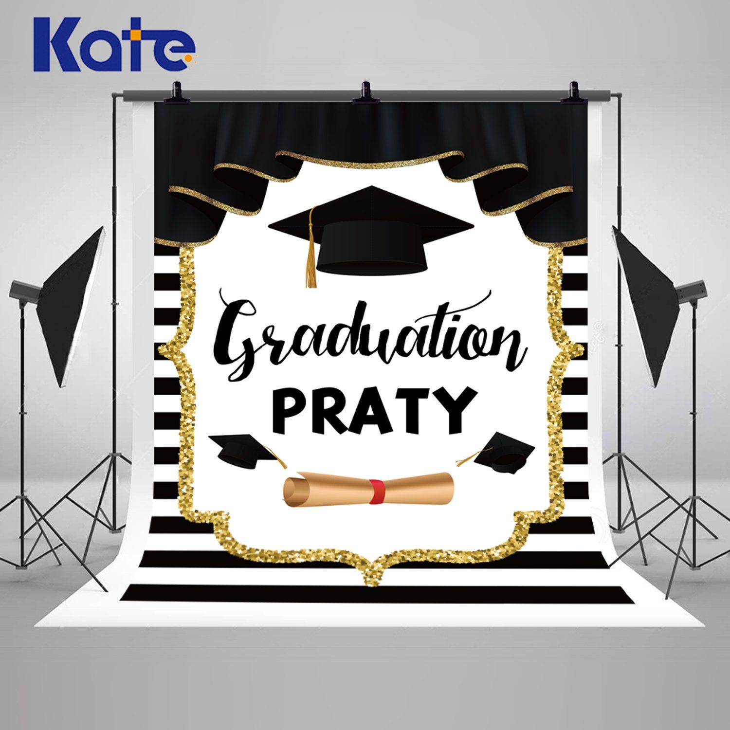 Black Gold Curtain Graduation Party Photography Backdrops