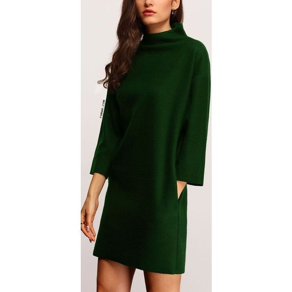 Dark Green High Neck Pockets Dress ❤ liked on Polyvore featuring dresses, pocket dress, green color dress, green high neck dress, dark green dress and high neck dress