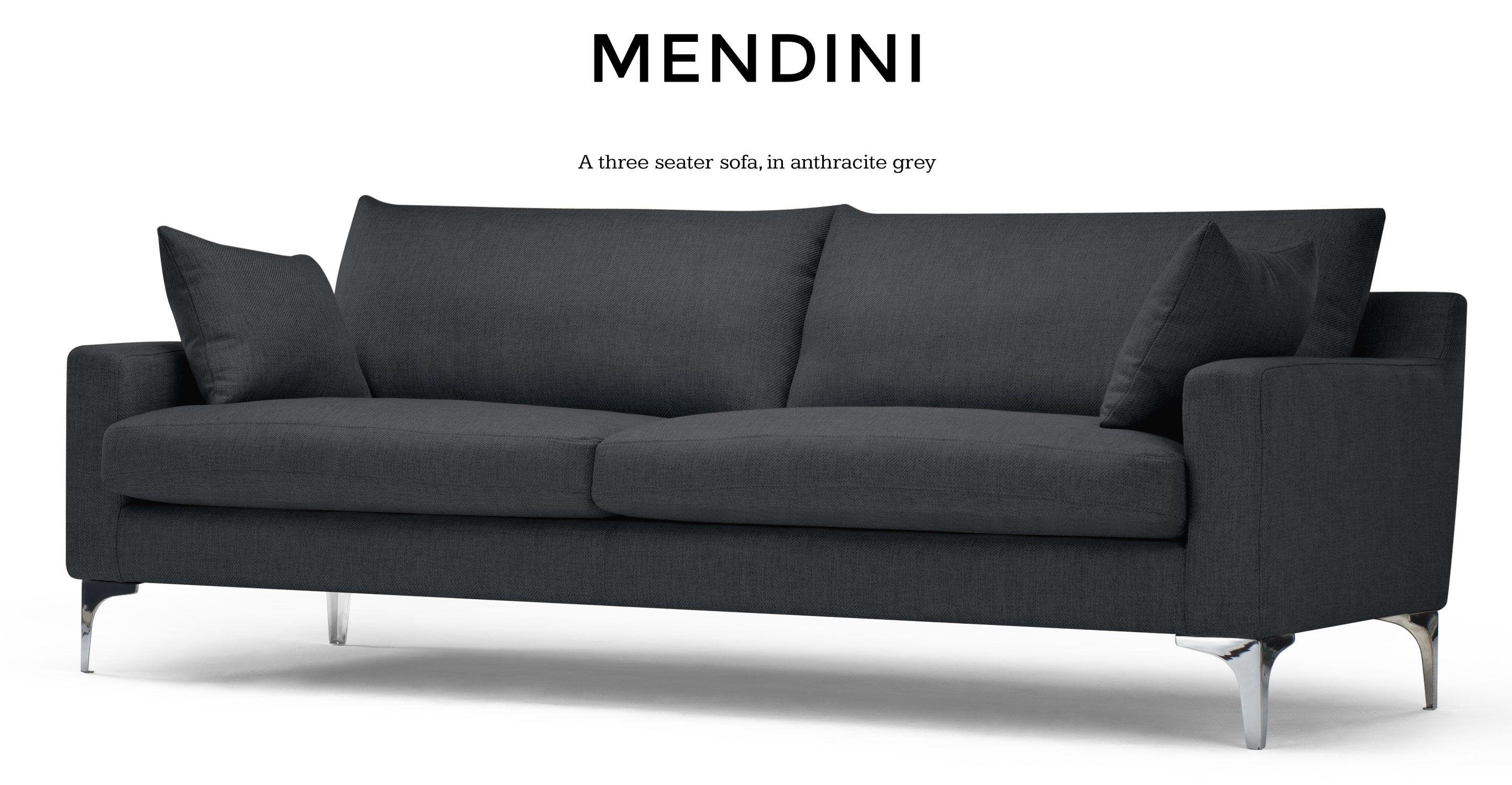 Mendini 3 Seater Sofa Anthracite Grey Sofa 3 Seater Sofa Three Seater Sofa