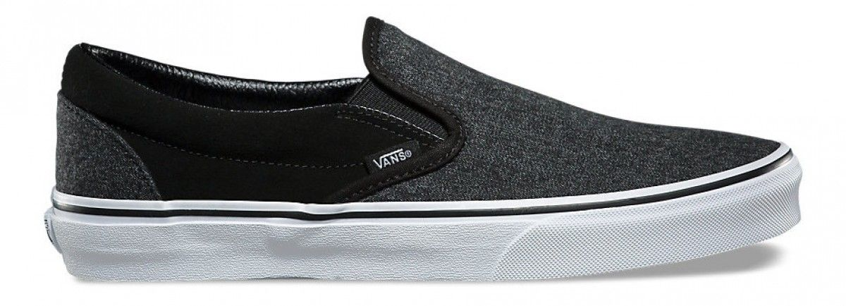 590703bfd05f16 Vans Classic Slip-On (Suede   Suiting) Black